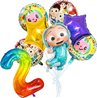 Cocomelon JJmelon Balloons 2st Birthday Party Supplies, 8PCs Cartoon Aluminum Foil Balloons Set for Kids Baby Shower Party...