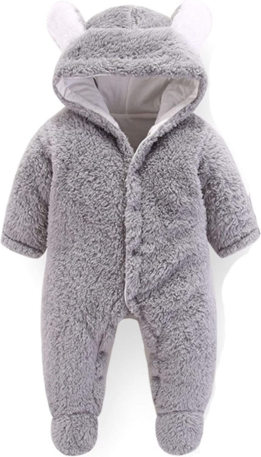 Infant Baby Jumpsuit Newborn Outstanding Hooded Bodysuit Plush Footed Romper Reservation