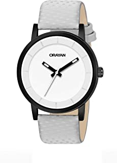 Orayan Sporty Dial Grey Leather Strap Analogue Men's and Boy's Watch