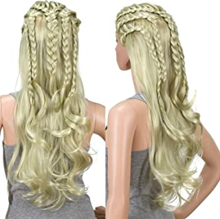SWACC 26 Inches Long Blonde Curly Wavy Braided Cosplay Costume Hair Wig for Women and Kids with Wig Cap