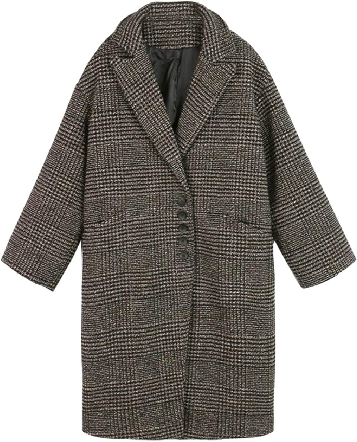 PujinggeCA Womens Checked Mid Long Overcoat Thick Wool Blend Houndstooth Jackets