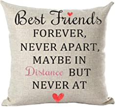 ramirar Best Friends Forever Never Apart Maybe in Distance But Never at Heart Love Decorative Throw Pillow Cover Case Cush...