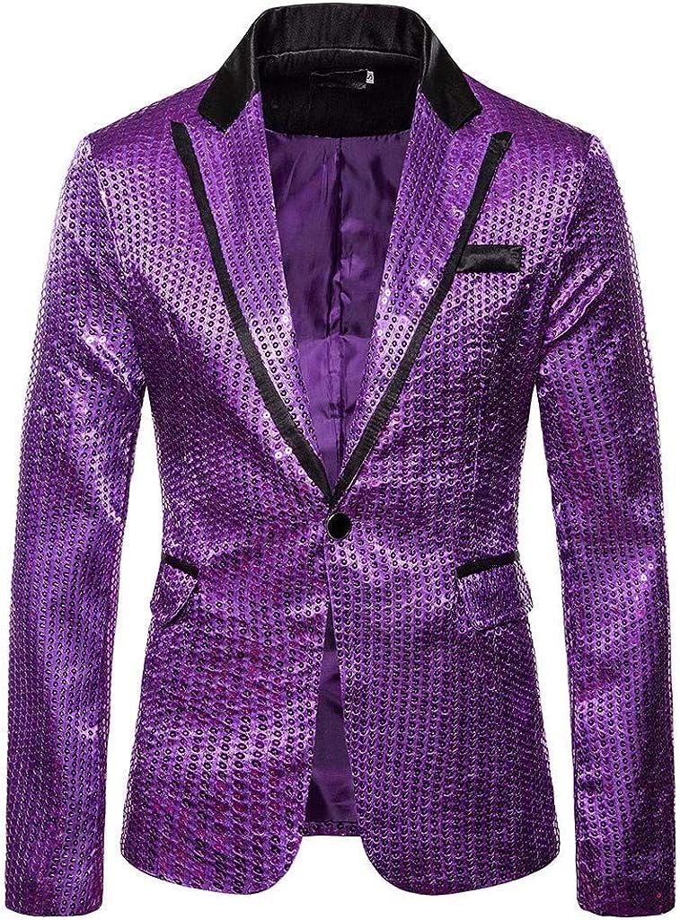 Charm Mens Blazers Mens Casual One Button Fit Suit Blazer Coat Jacket Sequin Party Top