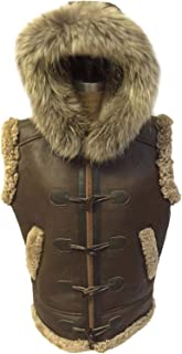 B3 Brown Bomber Removable Hoodie Real Shearling Sheepskin Leather Vest