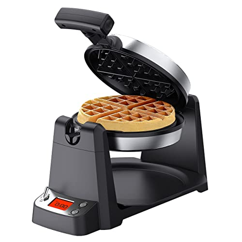 Elechomes Flip Belgian Waffle Maker with LCD Display (1.4  Thick Waffles), 180° Rotating Waffle Iron, Digital Timer, Non-Stick Coating Plates, Removable Drip Tray, Recipes Included, Stainless Steel
