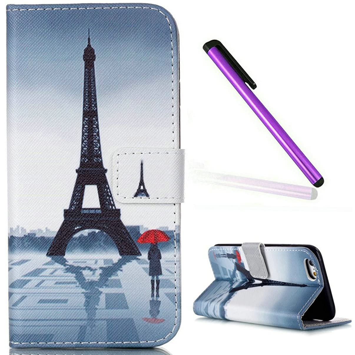 iPhone 6S Case,iPhone 6 Wallet Case,EMAXELER iPhone 6S Flip Folio Case,Beautiful illustration PU Leather Flip Protective Case Cover with Stand Wallet for Apple iPhone 6/6S-Tower & Red Umbrella Girl
