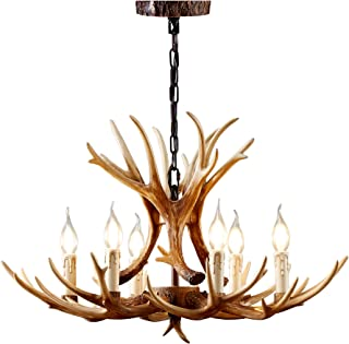 BAINUO Resin Antler Chandelier 6 Light Rustic Deer Antler...