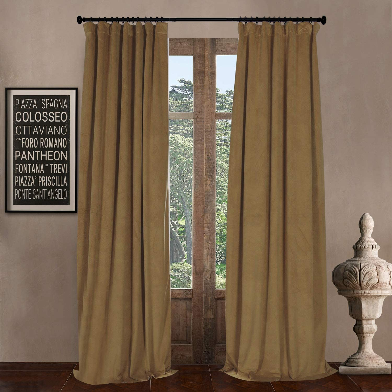 100  W x 96  L (set of 2 Panels) Pinch Pleat 90% White Lining Blackout Velvet Solid Curtain Thermal Insulated Patio Door Curtain Panel Drape For Traverse Rod and Track, Amber gold Curtain