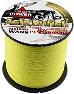 Ashconfish Braided Fishing Line-8 Strands Super Strong PE Fishing Wire 500M/546Yards Multifilament Fishing String Ultra Power Heavy Tensile for Saltwater & Freshwater Fishing