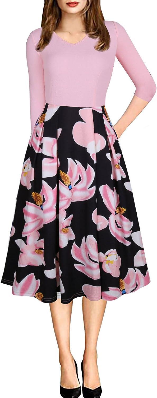 JYUAN Women's Vintage Patchwork Pockets Dress Floral Puffy Swing Wear to Work Dresses