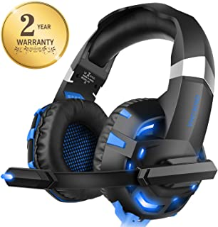 Xbox one Headset for PS4, WILLNORN K2 Gaming Headset with Mic Noise Cancelling Over Ear Headphones for PS4, PC Controller, Laptop, LED Light, Stereo Sound with Bass