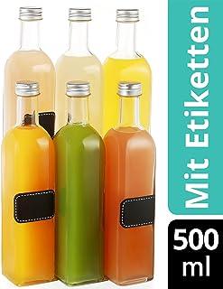 6 Bottiglie di Vetro Quadrate con Tappo a Vite - 500ml - Con 6 Etichette e Gesso - Bottiglie vuote per Liquore, Olio