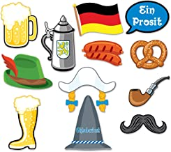 12 Pcs German Oktoberfest Photo Booth Props Kit,  German Beer Festival Fun Cutout Signs and Decorations, Holiday Party Supply