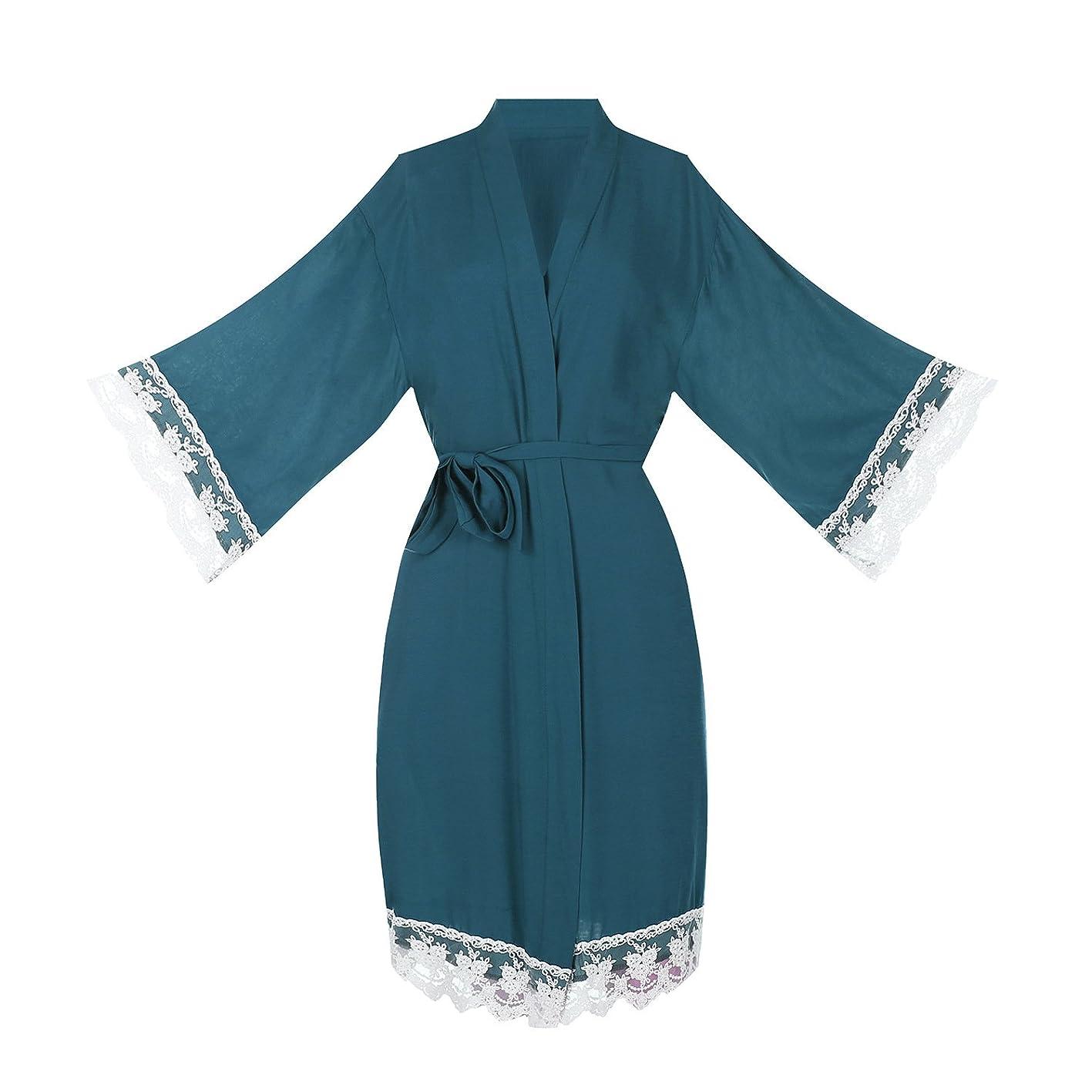 ellenwell Women's Cotton Knit Kimono Robe for Bride and Bridesmaid with Lace Trim Nightwear csbjupxlsat556