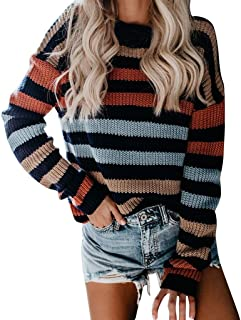 Women Sweater Long Sleeve Crew Neck Color Block Striped Casual Knitted Pullover Top, Knit Casual Jumper Shirt