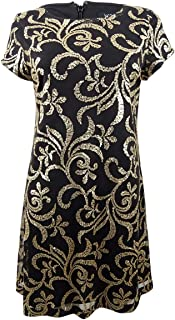 Womens Plus Metallic Sequined Sheath Dress