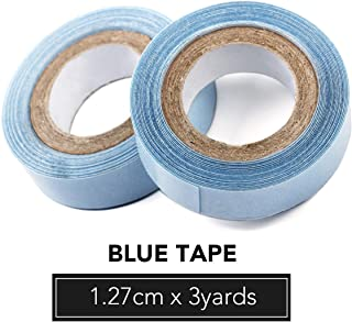 1.27cm x 3 Yards Hair Replacement Strong Adhesive Lace Front Wig Hair Support Tape, Double-Sided Water-Proof Invisible Tape 2 Rolls/Pack For Wigs/Toupees/Skin Weft Hair Extensions-Blue