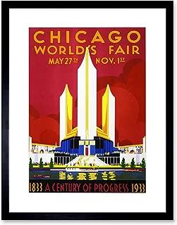 CULTURAL WORLD FAIR CHICAGO 1933 CENTENNIAL VINTAGE BLACK FRAME FRAMED ART PRINT PICTURE + MOUNT B12X865