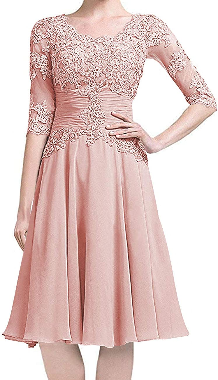 Short Mother of The Bride Dress with Long Sleeves Chiffon Wedding Party Dresses Lace Formal Evening Gowns