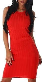 Jela London - Vestido de mujer ajustado y elástico de tubo, con aspecto de canalé grueso (talla única 34, 36, 38)