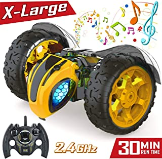 Remote Control RC Stunt Cars Toys for Kids,1: 8 Rotating 360°Flips 2.4Ghz Electric Rechargable Radio Controlled Race Car with Color Headlights for 5 6 7 8 9 10 12 Years Old Boys Girls