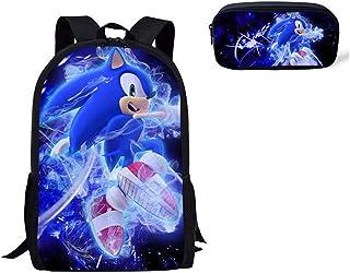 Mochila Sonic 2 uds mochila de hombro para niños dibujos animados Cool Sonic the Hedgehog estampado Anime libro lápiz bolígrafo mochilas escolares niños niñas