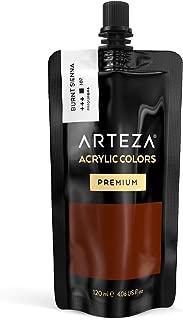 ARTEZA Acrylic Paint, Burnt Sienna Color, (120 ml Pouch, Tube)
