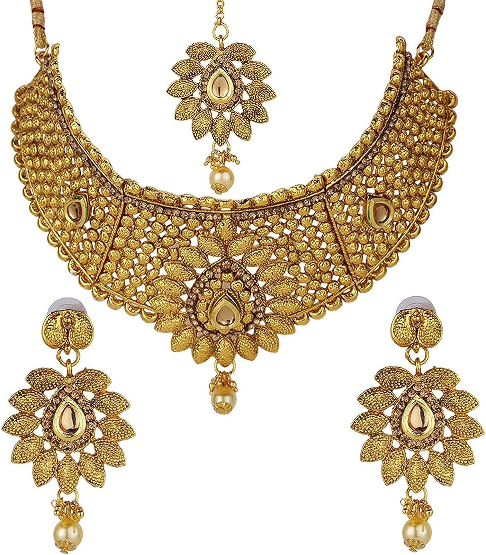 Efulgenz Indian Bollywood Traditional 14 K Gold Plated Kundan Pearl Wedding Choker Necklace Earrings Maangtikka Jewelry set