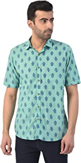 BLUE COTTS Men's Casual Floral Block Printed Half Sleeves Shirt (100% Pure Cotton)