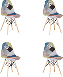 N/A conjunto con 4 sillas de comedor de estilo moderno patchwork en estilo nórdico tapizado con tela patchwork y silla de marco de madera en estilo escandinavo (Rojo2)