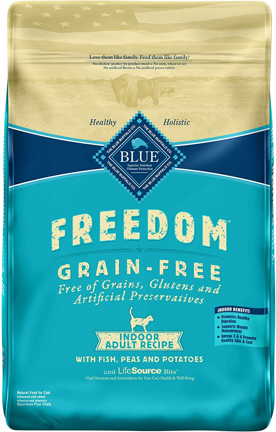 bluee Buffalo Freedom Grain Free Natural Indoor Adult Dry Cat Food, Fish 11Lb.