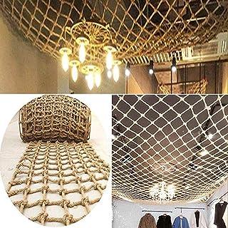Decor Net, Retro Ceiling Jute Weave Wear-Resistant Decoration Outdoor Safety Wall Mount (Color : BEIGE-10CM, Size : 1X15M)