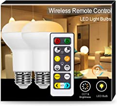 BR20 LED Bulb Dimmable, JandCase 8W Tunable White Bulb, 50W Equivalent, Warm to Cool White (2700K-6500K), 550lm, R20 Flood Light for Recessed and Track Lighting, E26 Base, Remote Control, 2 Pack