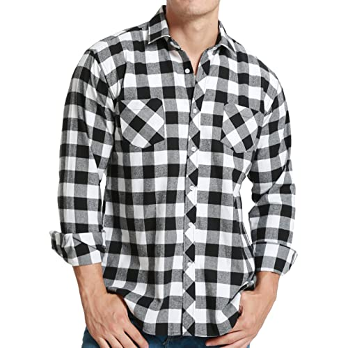 Mens Long Sleeve Shirts Casual Checked Collared Designer Classic Fit Size M 3XL