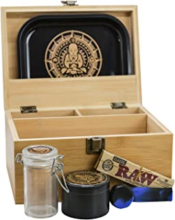 "Infinite Depths - Inhale/exhale Stash Box Combo | Premium - 4 3/8"" Full Size Titanium 4 Part Herb Grinder - Glass stash jar 
