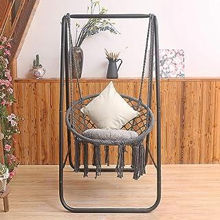 Sillón de lujo ligero, hamaca, para interiores y exteriores, silla colgante con soporte de cuerda de algodón, cesta colgante de huevo