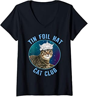 Womens Tin Foil Hat Cat Club Conspiracy Theory Funny V-Neck T-Shirt