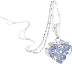 fleurs mixtes 45cm chaine inclus pendentif femme Bijoux en argent avec fleurs v/éritables forme goutte