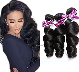 Brazilian Virgin Hair Loose Wave Hair Weave 3 Bundles Human Hair Loose Wave Bundles 100% Unprocessed Remy Hair Bundles Virgin Human Hair Extensions Curly Weave Natural Black 14