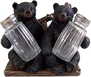 Decorative Side by Side Black Bear Salt and Pepper Shaker Napkin Holder Shakers Included
