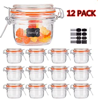 Small Glass Jars With Airtight Lids,Encheng Glass Spice Jars 5 oz,Maosn Jars With Leak Proof Rubber Gasket 150ml,Glass Storage Containers With Hinged Lid,Kitchen Canisters 12 Pack