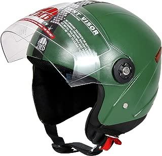 JMD HELMETS Grand Open Face Helmet (Military Green, Medium)