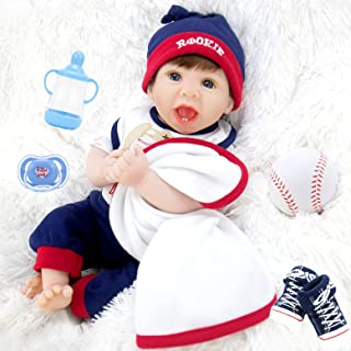 Aori Realistic Baby Doll Lifelike Reborn Baby Boy Doll 22 Inch with Baseball Toy and Accessories Best Birthday Gift for Ch...