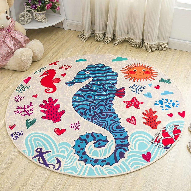 Groe blaue Runde Baumwolle getuftet Teppich Rund Kinderzimmer Kinderzimmer oder Interior Rugs (Größe   B100100cm)