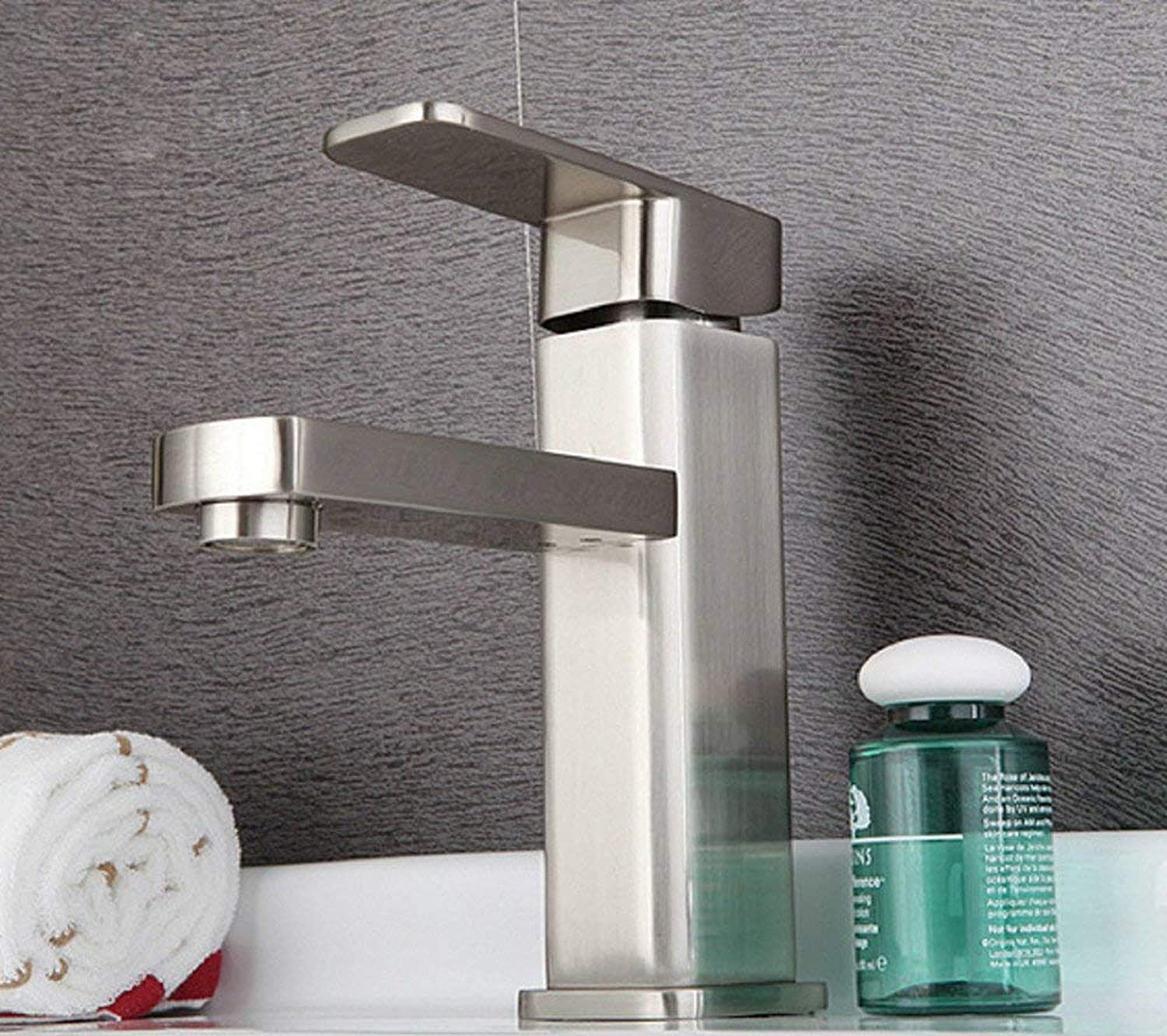 Oudan Basin Mixer Tap Bathroom Sink Faucet The Quartet's hot and cold single hole Stainless Steel Basin Sinks Faucets bathroom faucets water resistant to corrosion.