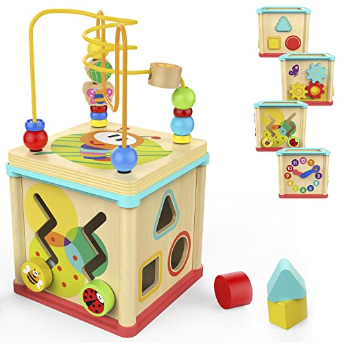 Top Bright Activity Cube Toys Baby Educational Wooden Bead Maze Shape Sorter For 1 Year Old