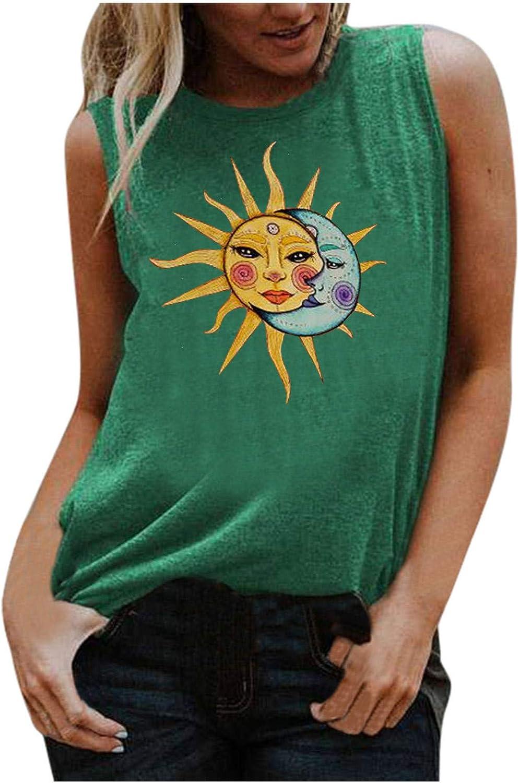 Womens Tank Tops, Women's Sun Print Vest Casual Loose Top Sleeveless Tank Sport Pullover Tunic Tops Shirts
