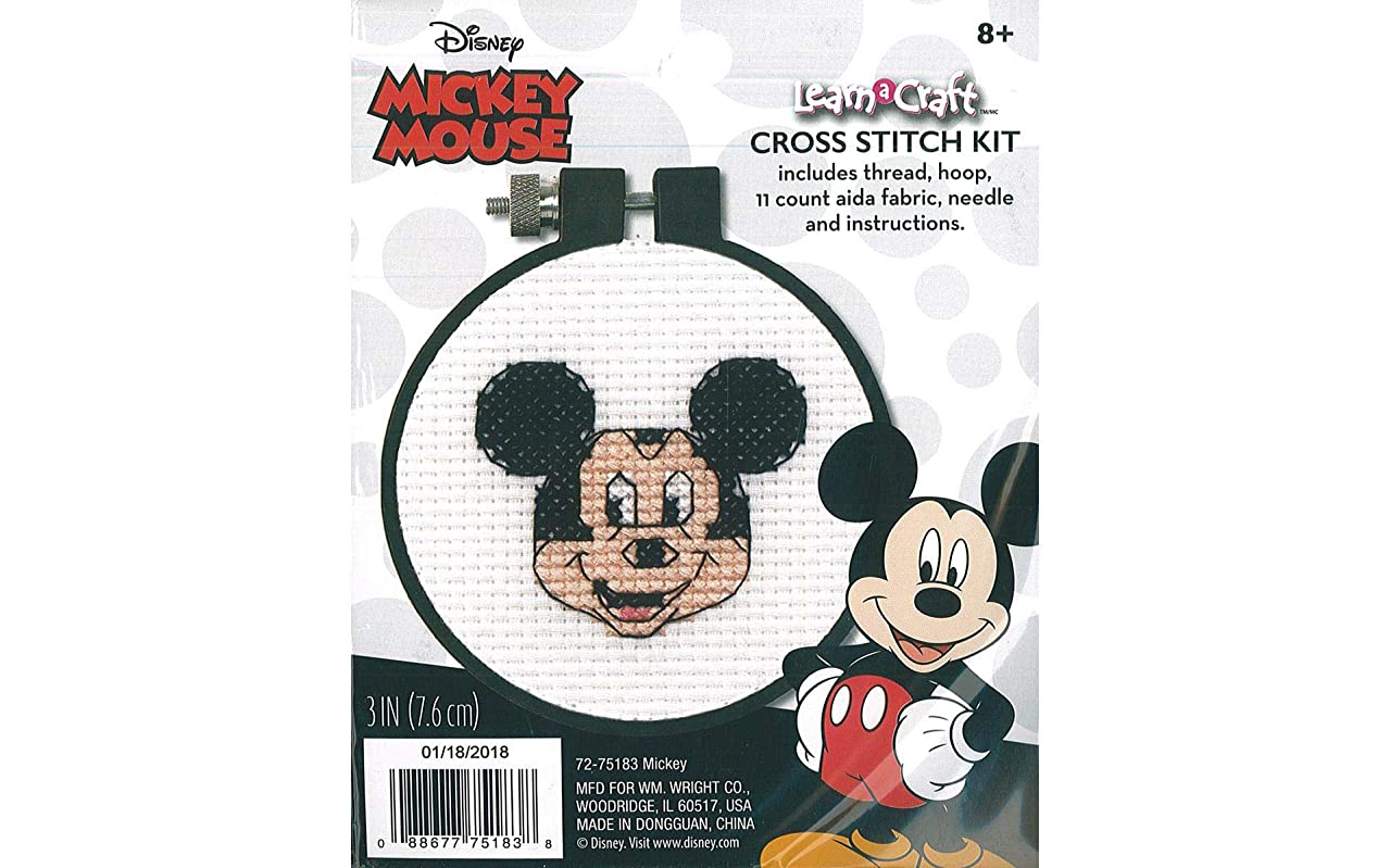 Dimensions Disney Mickey Mouse Counted Cross Stitch Kit for Beginners, 11 Count White Aida, 3''D