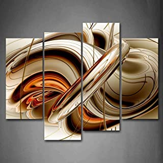 First Wall Art - Abstract Orange Brown White Lines Wall Art Painting The Picture Print On Canvas Abstract Pictures for Hom...
