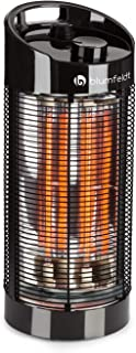 Blumfeldt Heat Guru 360 - Calefactor de pie, Radiador, Estufa de infrarrojos, Potencia de 600 ó 1200 W, Protección IPX4, Oscilación de 120 a 360 °C, Para interiores o exteriores, 2,9 Kg, Negro